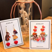 韓國手作童話可愛滴油設計公主天使造型垂墜耳環甜美夾式耳環