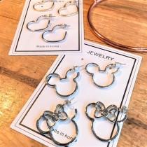 愛心造型米奇米妮造型圈圈耳釘耳環可愛百搭耳環
