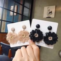 韓國可愛手作花朵圓形耳釘耳環棉質花造型夾式耳環垂墜飾品