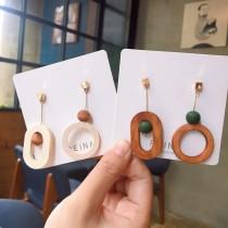 木質手工設計款幾何圖形輕巧氣質優雅文青耳環韓國直送飾品夾式耳環