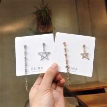 金屬blingbling長形兩邊不對稱星星造型耳環氣質修飾臉型夾式耳環