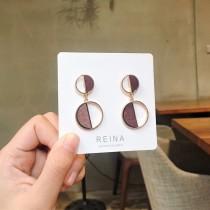 韓國質感精緻圓形耳釘耳環金色耳環木質設計款幾何圖形圓形耳釘耳環
