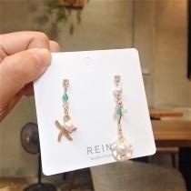 海洋風格浪漫白貝殼金屬海星珍珠造型耳環美人魚長形耳環