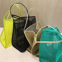 流行時髦透明網紗洞洞單肩背大包購物包隨性百搭萬用包