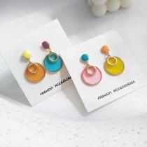 韓國圓形甜心透明糖果色幾何圖形耳環百搭戀愛系耳釘耳環
