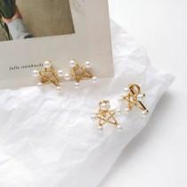 精緻小巧珍珠星星愛心造型耳釘耳環氣質優雅輕巧貼耳夾式耳環