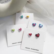青春洋溢小巧精緻可愛糖果色愛心耳釘耳環愛心造型貼耳耳環