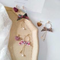 學院風格紋造型蝴蝶結耳環不對稱燈心絨愛心耳釘耳環夾式耳環