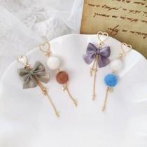 可愛甜美愛心縷空耳釘耳環兩邊不對稱毛球蝴蝶結長形造型耳環