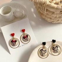 韓國卡通童趣設計款愛心耳釘米奇米妮手工耳環夾式耳環