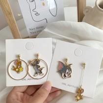 湯姆貓與傑利鼠滴油不對稱卡通造型童趣可愛甜美耳環夾式耳環