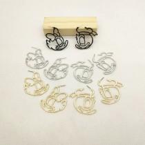 韓國設計唐老鴨黛絲金屬縷空造型大耳環圈圈造型耳環夾式耳環