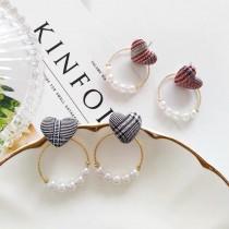 韓國設計款格紋布質愛心耳釘縷空珍珠圓形耳環小巧精緻耳釘耳環