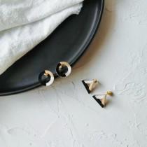 簡約幾何圖形黑白金配色圓形縷空耳釘耳環三角形耳釘耳環百搭氣質貼耳耳環