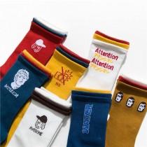 韓國雙色襪口可愛塗鴉亮色系中筒襪潮流鮮豔百搭長襪子