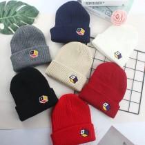 街頭時髦潮流毛帽刺繡西瓜帽歐美簡約個性冷帽毛帽男帽女帽