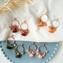 韓國手工設計甜美氣質縷空圓形皮革流蘇耳釘耳環