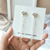 浪漫鑽鑽愛心耳釘blingbling透色天然石長形造型耳環氣質優雅精緻耳環