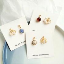 韓國小巧可愛氣質不對稱白色珍珠圓形粉嫩石頭造型耳釘耳環