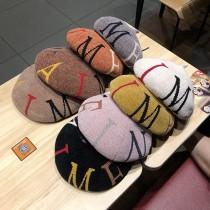 日韓系甜美質感雪尼爾英文字造型貝蕾帽南瓜帽畫家帽潮流時尚雜誌款帽