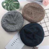 日系文青千鳥格紋氣質優雅貝蕾帽南瓜帽八角帽百搭畫家帽