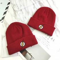 潮流帥氣紅色閃電刺繡冷帽毛線保暖造型毛帽男女皆可