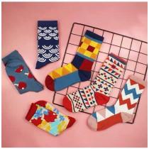彩色繽紛可愛幾何圖形潮流長襪滑板襪中筒襪百搭襪子