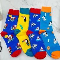 彩色可愛圖案長襪繽紛色滑板襪卡通動物圖案中筒襪