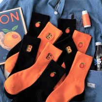 大吉大利橘色橘子造型中筒襪潮流字母簡約滑板襪男襪女襪