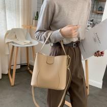 韓國優雅手提簡約水桶包包大容量休閒肩背包側背包時髦百搭淑女包包