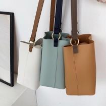 熱賣款簡約方形水桶包莫蘭迪色系文青休閒百搭斜背包肩背包大容量包包
