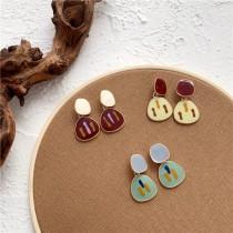 不規則造型糖果色滴油設計耳釘耳環文青個性百搭可愛甜美耳釘耳環