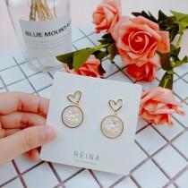 韓國甜美金屬愛心耳釘圓形白色珍珠耳環小巧氣質耳環