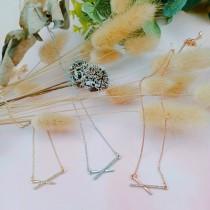 韓國小巧精緻簡約線條金屬鑽鑽短鍊鎖骨鍊造型鍊造型氣質項鍊