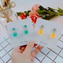 韓國糖果色霧面顏色設計正立方體文藝氣息小巧精緻耳釘耳環