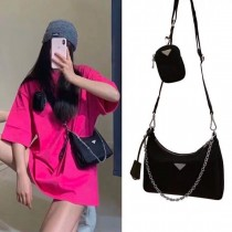 熱賣款三合一包時髦流行新款斜背包百搭時尚包尼龍料女包單肩背鏈帶包