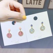 小巧可愛亮面笑臉造型糖果色耳釘耳環甜美文青垂墜耳環