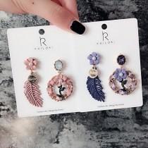 韓國花朵手作飾品質感精緻寶石耳釘耳環華麗造型設計款耳環