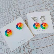 韓國樹酯材質彩色花朵笑臉耳釘耳環垂耳耳環可愛潮流夾式耳環
