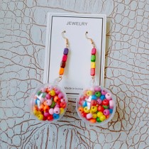 長形彩色木質設計大立體彩色球球造型誇張可愛耳環網紅必備夾式耳環
