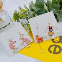 夢幻童趣樣式手作珍珠圓形縷空童話故事浪漫耳環可愛甜美夾式耳環