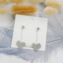 韓國925純銀針鑽鑽愛心造型耳釘耳環長形優雅blingbling夾式耳環