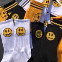 潮流KUSO笑臉長襪中筒襪線條帥氣個性襪子男襪女襪情侶襪