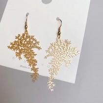 金屬薄片樹葉造型耳環輕巧設計款長形耳環葉子優雅氣質夾式耳環