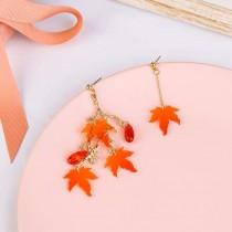 柔美精緻壓克力楓葉造型部對稱耳釘耳環手作設計款樹葉造型夾式耳環