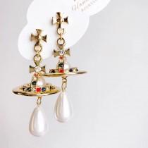 立體星球造型華麗耳釘耳環珍珠長型誇張個性大耳釘耳環夾式耳環