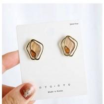 韓國復古宮廷不規則質感紋理面耳釘耳環小巧精緻夾式耳環