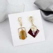 韓國設計款滴油不規則幾何圖形耳釘耳環優雅氣質長形夾式耳環