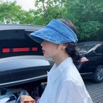 韓國時髦流行空頂帽牛仔布遮陽帽潮流必備可收納式遮陽帽出遊必備