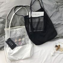 夏季新款韓版網格手提包購物袋網眼縷空沙灘包帆布單肩女包包大容量包